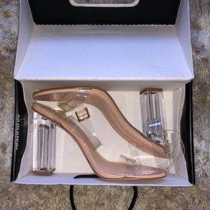 Fashion Nova Glass Slipper High Heels *NEW IN BOX*